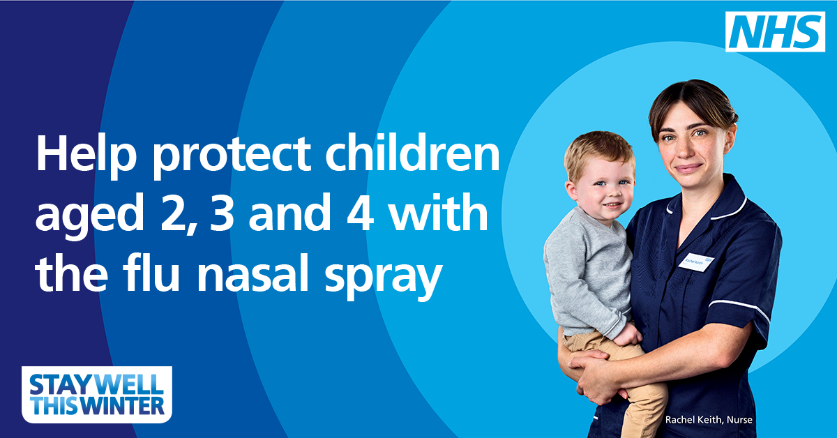 Help Protect children aged 2, 3 or 4 with the Flu Nasal Spray.