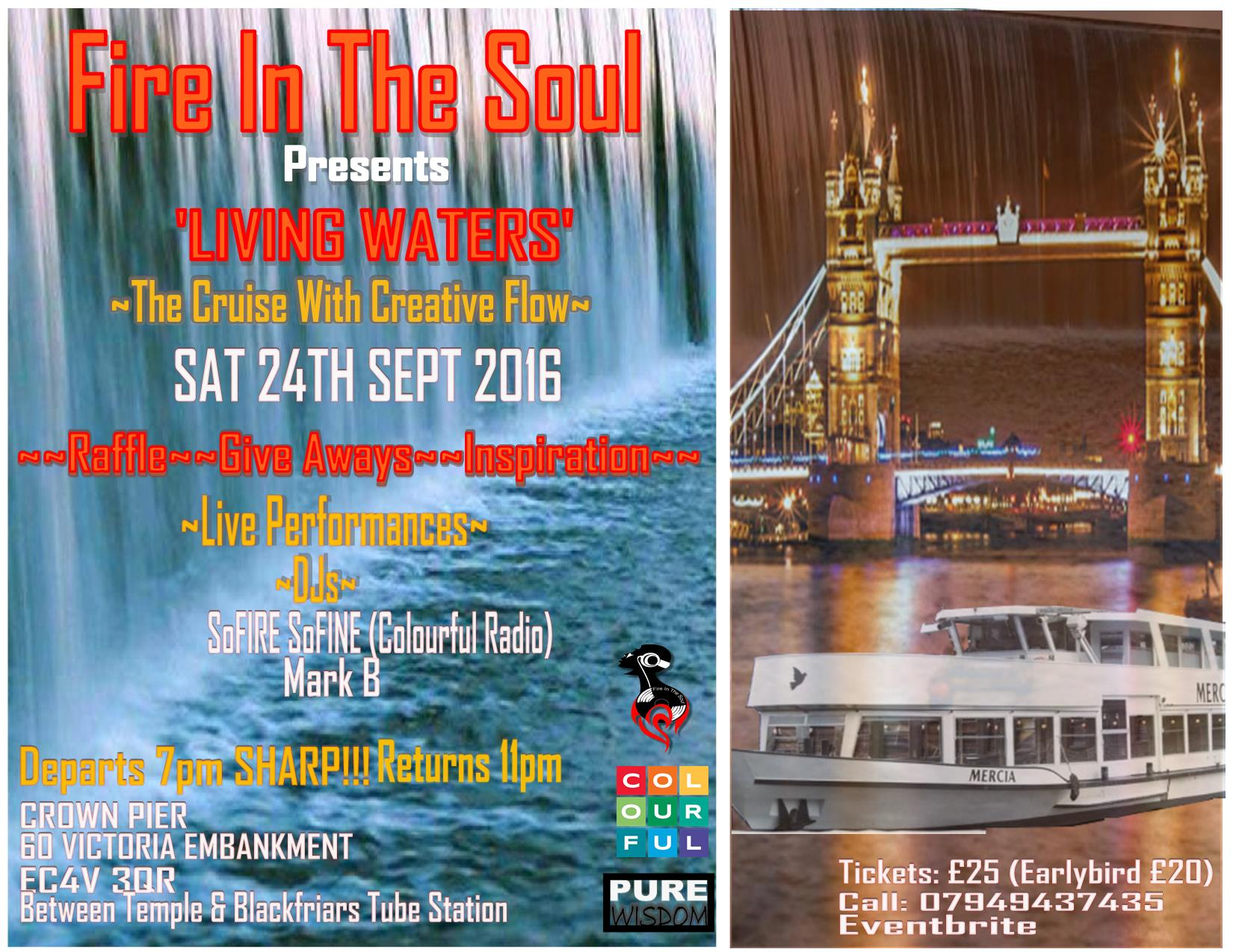 FIRE IN THE SOUL presents 'LIVING WATER' a Boat Cruise with Creative Flow!