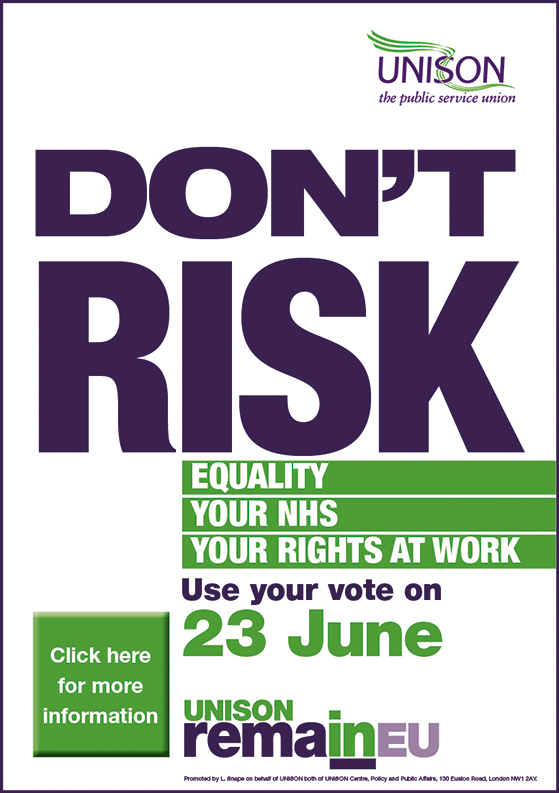 Don't Risk It, says Unison