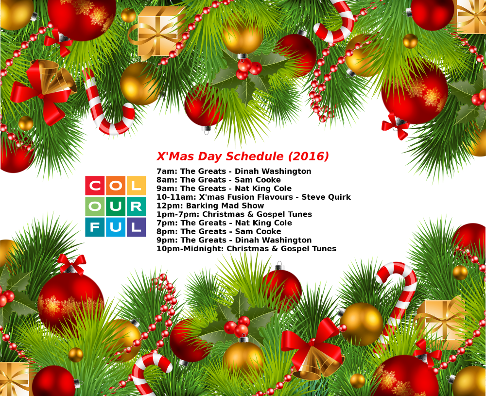 Colourful Christmas Day Schedule (2016)